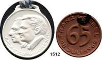 MEDAILLEN AUS PORZELLAN,Andere Hersteller Goebel/Rödental LOT von 6 Jubiläumsmedaillen mit den Jahreszahlen 65, 75, 80, 85, 100 und 125 Jahre.  braun(2) und weiß(4).