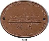MEDAILLEN AUS PORZELLAN,Staatliche Porzellan-Manufaktur MEISSEN Meissen 1929 braun (90 x 70 mm).  ADAC - Strahlenfahrt zur Jahrtausendfeier.