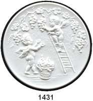 MEDAILLEN AUS PORZELLAN,Staatliche Porzellan-Manufaktur MEISSEN Meissen 2006 bis 2010 weiß (51 mm).  Meißner Weinfest.  Weigelt 11349, 11379, 11394, 12547 und 12567.  LOT 5 Stück.