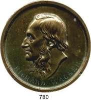 M E D A I L L E N,Personen Wagner, Richard Einseitige Bronzeplakette o.J.  Bärtiger Kopf n. l.  68 mm.  51,06 g.