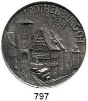 M E D A I L L E N,Städte Rothenburg o. d. T. Einseitige Weißmetall Ansteckplakette 1938.  (A. Rettenmaier Schwäb. Gmünd).  Altstadt.  42,7 mm.  19,79 g.