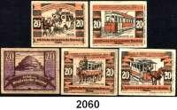 P A P I E R G E L D   -   N O T G E L D,Schlesien Breslau Städtische Straßenbahn.  5x 20 Pfennig o.D.(Juni 1921)-30.6.1922.  G/M 187.3(Jahrhunderthalle), 187.4 (komplett 1875-1921, Reklameaufdrucke 1, 2, 11, 15).  LOT 5 Scheine.