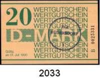 P A P I E R G E L D,D D R Gefängnisgeld 1, 5, 10, 50 Pfennig, 1, 5, 10, 20 D-Mark 1.7.1990.  Serie B.  Die Markwerte sind gestempelt mit einem Rundstempel