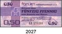 P A P I E R G E L D,D D R  FORUM-Warenschecks$0 1979.  0,50 Mark.  Ros. DDR-29 a.  Meist fortlaufende Nummerierung.  LOT 50 Scheine.