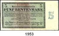 P A P I E R G E L D,R E N T E N B A N K  5 Rentenmark 1.11.1923.  KN 7-stellig.  Serie: U.  Ros. DEU-201 b.