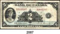 P A P I E R G E L D,AUSLÄNDISCHES  PAPIERGELD Kanada 2 Dollars 1935.  Pick 40.