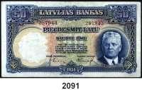 P A P I E R G E L D,AUSLÄNDISCHES  PAPIERGELD Lettland 50 Latu 1934.  Pick 20 a.