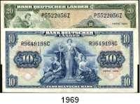 P A P I E R G E L D,BUNDESREPUBLIK DEUTSCHLAND  10 und 20 Deutsche Mark 22.8.1949.  Ros.BRD-4 und 5.  LOT 2 Scheine.