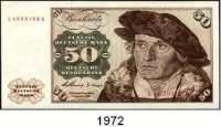 P A P I E R G E L D,BUNDESREPUBLIK DEUTSCHLAND  50 Deutsche Mark 2.1.1960.  L...Q(ksfr) und M...P(gebraucht).  Ros. BRD-9 b und c.  LOT 2 Scheine.