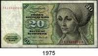P A P I E R G E L D,BUNDESREPUBLIK DEUTSCHLAND  20 Deutsche Mark 2.1.1970.  GA...B, GC...E, GF...J und Austauschnote(sehr stark gebraucht) ZE...A.  Ros. BRD-15 a, b, d.  LOT 4 Scheine