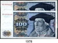 P A P I E R G E L D,BUNDESREPUBLIK DEUTSCHLAND  100 Deutsche Mark 1.6.1977.  Ros. BRD-22 a.  LOT 2 Scheine.