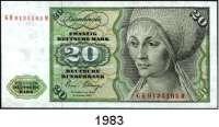 P A P I E R G E L D,BUNDESREPUBLIK DEUTSCHLAND  5(3) und 20(fast ksfr.) Deutsche Mark 2.1.1980.  Ros. BRD-26 a, 29 a(2), 29 b(Austauschnote).  LOT 4 Scheine.