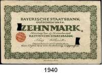 P A P I E R G E L D,Altdeutsche Staaten und Länderbanknoten BAYERN Bayerische Staatsbank, Nürnberg.  1/2(3), 1 und 10(gebraucht, entwertet) Mark 15.11.1918.  Grab. BAY 26 b(Serie E/F/J), 27 b, 30 e.  LOT 5 Scheine.