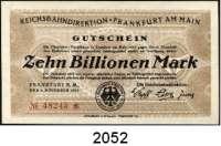 P A P I E R G E L D   -   N O T G E L D,Reichsbahn Frankfurt 20, 100(2), 500 Milliarden Mark 22.10.1923.  1 Billion Mark 2.11.1923.  10 Billionen Mark 6.11.1923.  Müller/Geiger/Grabowski 008.7c, 11c, 12a, 13a, 15c, 21.  LOT 6 Scheine.