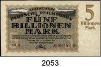 P A P I E R G E L D   -   N O T G E L D,Reichsbahn Karlsruhe 100 und 500 Milliarden Mark, 1 Billion Mark und 10 Billionen Mark 15.10.1923.  Müller/Geiger/Grabowski 012.8 b, 12 b, 13 a, 15 a, 16 a.  LOT 5 Scheine.