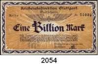 P A P I E R G E L D   -   N O T G E L D,Reichsbahn Stuttgart 5(2) Millionen Mark 18.8.1923.  50 Millionen Mark; 1 Milliarde Mark 26.9.1923.  50 Milliarden Mark 23.10.1923;  500 Milliarden Mark 30.10.1923;  1 Billion Mark 5.11.1923 und 5 Billionen Mark 9.11.1923.  Müller/Geiger/Grabowski 021.3 a, 3 b, 5, 6, 8, 10 a, 11, 12.  LOT 8 Scheine.