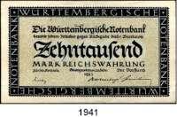 P A P I E R G E L D,Altdeutsche Staaten und Länderbanknoten Württemberg 10000 Mark 20.2.1923.  1 Million Mark 15.6.1923.  5 und 100 Millionen Mark 1.8.1923.  Grab.  WTB 13, 17, 19, 20.  LOT 4 Scheine.