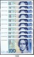 P A P I E R G E L D,BUNDESREPUBLIK DEUTSCHLAND  100 Deutsche Mark 2.1.1989.  AU...S(9) und AU...L..  Ros. BRD-38.a.  LOT 10 Scheine.