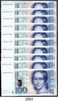 P A P I E R G E L D,BUNDESREPUBLIK DEUTSCHLAND  100 Deutsche Mark 2.1.1989.  GD...S.  Ros. BRD-54.a.  LOT 10 Scheine.  Teilweise fortlaufende KN.