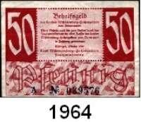 P A P I E R G E L D,BUNDESREPUBLIK DEUTSCHLAND Württemberg-Hohenzollern, Finanzministerium 5, 10 und 50(gebr.) Pfennig.  Oktober 1947.  Ros. FBZ-7 a(2), b, 8 b(3), 9 a.  LOT 6 Scheine.