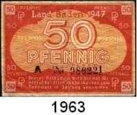 P A P I E R G E L D,BUNDESREPUBLIK DEUTSCHLAND Baden, Staatsschuldenverwaltung 5(2), 10(ksfr.) und 50(gebr.) Pfennig.  1947.  Ros. FBZ-1 b(2), 2 d, 3.  LOT 6 Scheine.