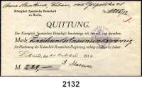 P A P I E R G E L D,Dokumente  Quittung der Königlich Spanischen Botschaft zu Berlin über 229 Mark.  Quittiert zu Libau am 30.Oktober 1916.  Mit Botschaftsstempel.