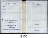 P A P I E R G E L D,Dokumente  Abteilungsleiterausweis, Verwaltung der Volkskammer.  Blankette.  Ohne Gewähr.