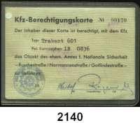 P A P I E R G E L D,Dokumente  Ausstattung für den Kontrolldienst nach der Übernahme am ehemaligen Amt für Nationale Sicherheit der DDR in der Ruschestr..  KfZ-Berechtigungskarte für das Befahren des Geländes.