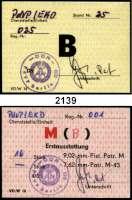 P A P I E R G E L D,Dokumente  Ausstattung für den Einlasskontrolldienst nach der Übernahme am ehemaligen Amt für Nationale Sicherheit der DDR in der Ruschestr..  Zweimal Waffenempfangskarten der Volkspolizei für Pistolenpatronen 9,02 mm und Ausgabekarte für eine Pistole (B).  LOT 3 Stück.