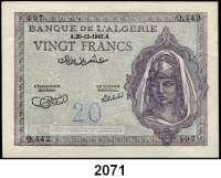 P A P I E R G E L D,AUSLÄNDISCHES  PAPIERGELD Algerien 20 Francs 20.12.1943.  Pick 92 a.