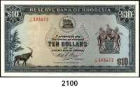 P A P I E R G E L D,AUSLÄNDISCHES  PAPIERGELD Rhodesien 10 Pfund 15.9.1975.  Pick 33 g.