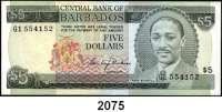 P A P I E R G E L D,AUSLÄNDISCHES  PAPIERGELD Barbados 5 Dollars o.D.(1975).  Pick 32 a.