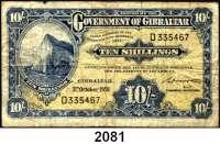 P A P I E R G E L D,AUSLÄNDISCHES  PAPIERGELD Gibraltar 10 Shillings 3.10.1958.  Pick 17.