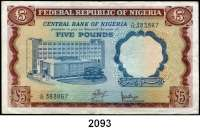 P A P I E R G E L D,AUSLÄNDISCHES  PAPIERGELD Nigeria 5 Pfund o.D.(1968).  Pick 13 a.