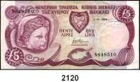 P A P I E R G E L D,AUSLÄNDISCHES  PAPIERGELD Zypern 5 Pfund 1.10.1990.  Pick 54 a.