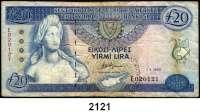 P A P I E R G E L D,AUSLÄNDISCHES  PAPIERGELD Zypern 20 Pfund 1.3.1993.  Pick 56 b.