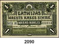 P A P I E R G E L D,AUSLÄNDISCHES  PAPIERGELD Lettland 1 Rublis 1919.  Pick 2.
