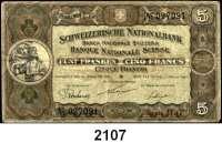 P A P I E R G E L D,AUSLÄNDISCHES  PAPIERGELD Schweiz 5 Franken 1.1.1921.  Pick 11 e.