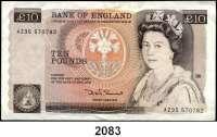 P A P I E R G E L D,AUSLÄNDISCHES  PAPIERGELD Großbritannien 10 Pfund o.D.(1980-1984).  Pick 379 b.