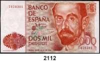 P A P I E R G E L D,AUSLÄNDISCHES  PAPIERGELD Spanien 2000 Pesetas 22.7.1980(1983).  Pick 159.