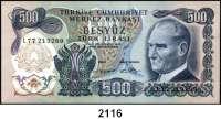 P A P I E R G E L D,AUSLÄNDISCHES  PAPIERGELD Türkei 500 Lira 1970(1.9.1971).  Pick 190 d.