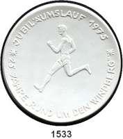 MEDAILLEN AUS PORZELLAN,Andere Hersteller Sächsische Porzellan-Manufaktur Dresden Weiße Medaille 1975.  Windberglauf.  Jubiläumslauf