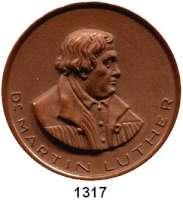 MEDAILLEN AUS PORZELLAN,Staatliche Porzellan-Manufaktur MEISSEN Meissen o.J.(1930) braun.  Luther - Erinnerung.  Gipsform.