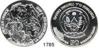 AUSLÄNDISCHE MÜNZEN,Ruanda  50 Francs 2009. (Silberunze).  African Ounce - Elephantenfamilie.  Schön. 42.3 (Beizeichen