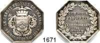 AUSLÄNDISCHE MÜNZEN,Frankreich Napoleon III. 1852 - 1870 Achteckige Silbermedaille 1854.  Comptoir déscompte von Lille.  30 mm.  14,45 g.