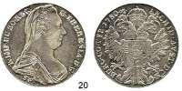 Römisch Deutsches Reich,Haus Habsburg Maria Theresia 1740 - 1780 Taler 1780, Günzburg.  27,98 g.  Herinek 513.  Voglh.271/IV.  Dav. 1151.