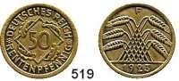 R E I C H S M Ü N Z E N,Weimarer Republik  50 Rentenpfennig 1923 F.  Jaeger 310.